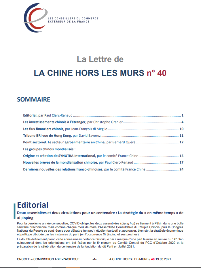 LA LETTRE DE LA CHINE HORS LES MURS N°40